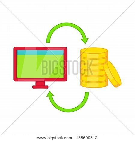 Online earnings icon in cartoon style isolated on white background. Job symbol