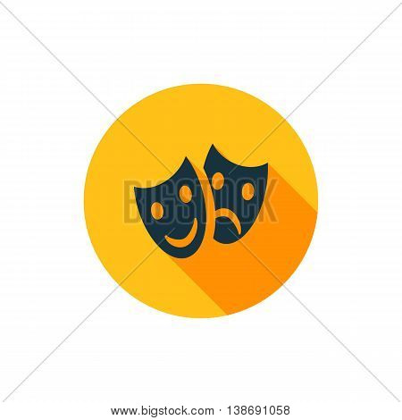 Vector illustration of tragedy and comedy masks icon in yellow circle with long shadow