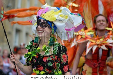 BATH SOMERSET UK - JULY 16 2016 Dancer in costume. Bath Carnival procession around the streets of the city of Bath bringing a South American festival atmosphere to Somerset