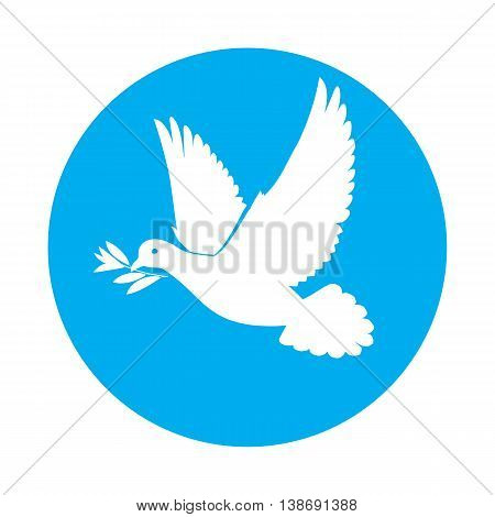 Flat icon of white dove with olive branch in its beak
