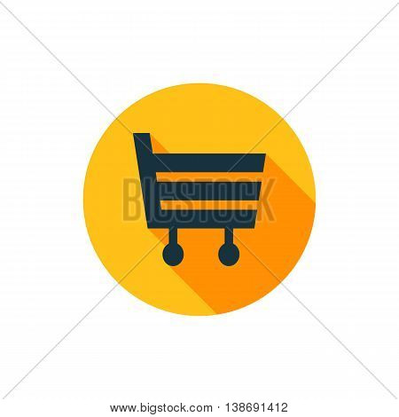 Vector illustration of shopping cart icon in yellow circle with long shadow