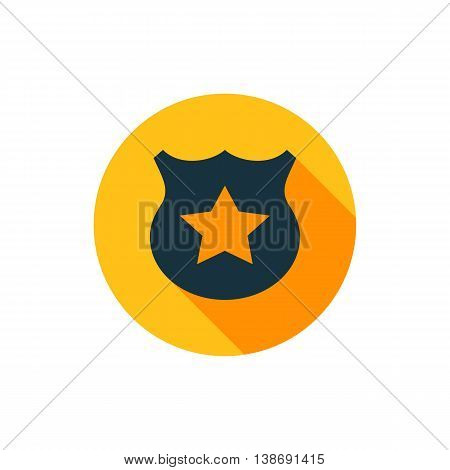 Vector illustration of police sign icon in yellow circle with long shadow