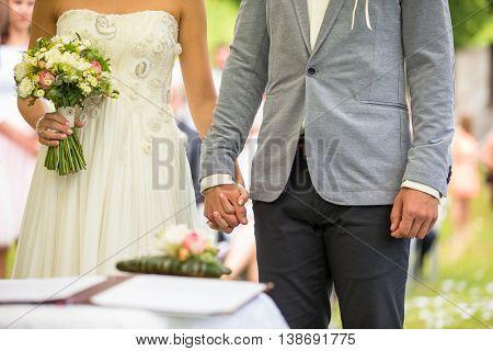 Wedding couple on their wedding day