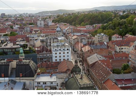 ZAGREB, CROATIA - APRIL 26th, 2016: Panoramic view of Zagreb's Lower Town