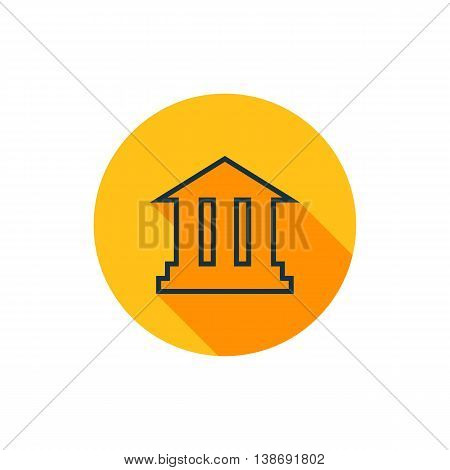 Vector illustration of academy icon in yellow circle with long shadow