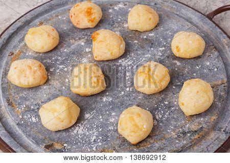 Brazilian Snack Cheese Bread (pao De Queijo) On Oven-tray
