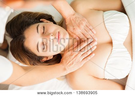 Therapist Transferring Energy To A Pretty Woman