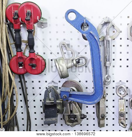 stand with tools for body repair