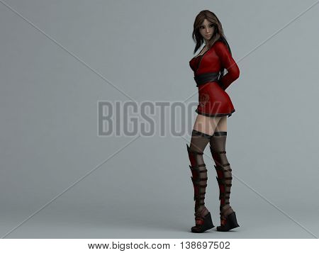 3d illustration of a pretty anime young girl in red outfit