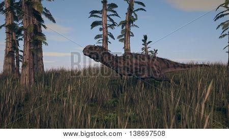 3d illustration of the majungasaurus in grass terrain