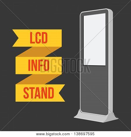 LCD TV Info Floor Stand. Blank Trade Show Booth. Vector illustration of kiosk machine on black background. Ad template for your expo design with ribbon banner text.