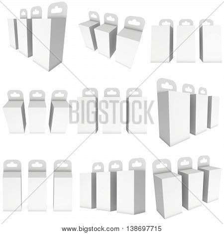 White paper hanging box set. Packaging container with hanging hole collection. Mock up template. 3d render isolated on white background.