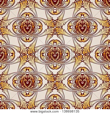 Saturated seamless abstract floral pattern in the form vines
