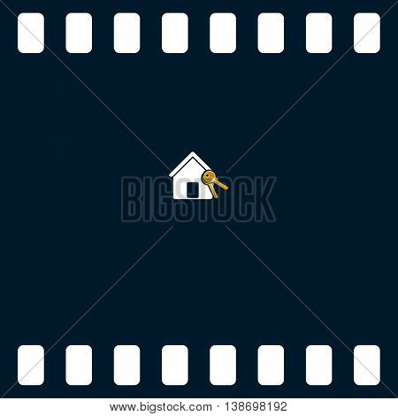Flat Paper Cut Style Icon Of Home And Keys