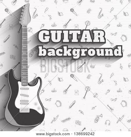 Guitar background. Set of musical instruments vector illustration.