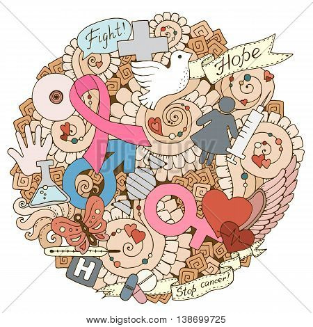 Global collaboration breast cancer awareness month colorful doodle illustration. Medical Background with ribbon dove women and men icons heart abstract breast medicine bottle and pills.