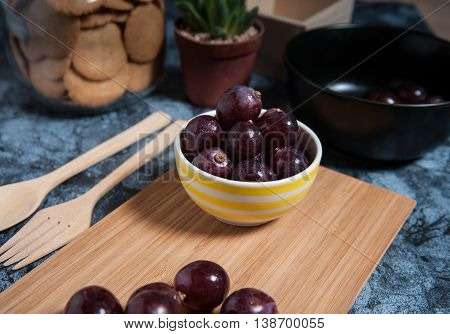 Fresh Grape Fruits On Marble Table. Flat Lay.