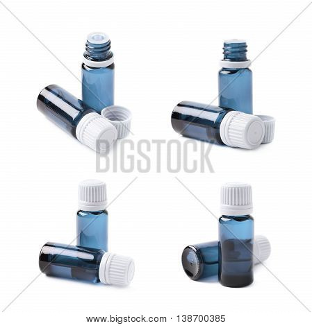 Small blue glass flask vial, composition isolated over the white background, set of four different foreshortenings
