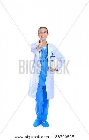 A female doctor showing ok, isolated on white background