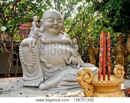 Khanh Hoa, Vietnam, March 26, 2016 Buddha statues, ancient temples, rural areas in Khanh Hoa, Vietnam