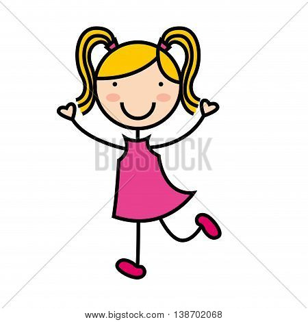 cartoon girl icon smiling fun, vector illustration