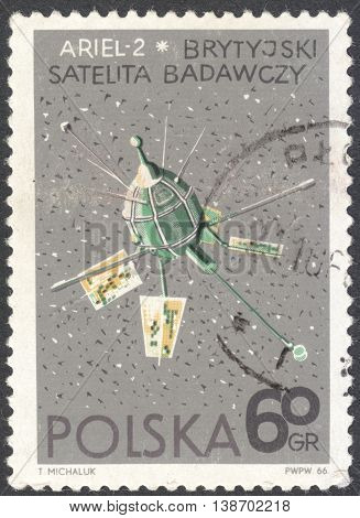 MOSCOW RUSSIA - JANUARY 2016: a post stamp printed in POLAND shows a satellite