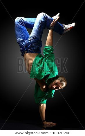 stylish and cool breakdance style dancer posing