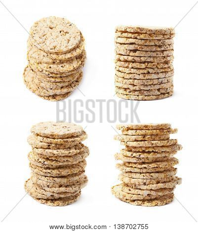 Pile stack of diet rice crackers isolated over the white background, set of four different foreshortenings