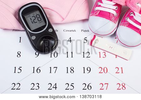 Pregnancy Test With Positive Result, Glucometer And Clothing For Newborn, Checking Sugar Level, Expe