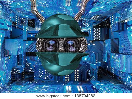 robot attached to wires in cyber room, 3D rendering, 3D illustration