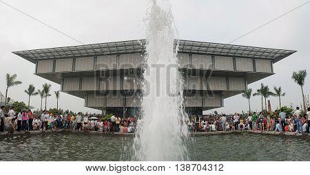HA NOI, VIET NAM, dated 39 April 2016 the fountain, at the building museum architecture Ha Noi, Vietnam