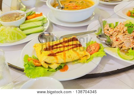 Vegetable omelet with broccoli and bell peppers