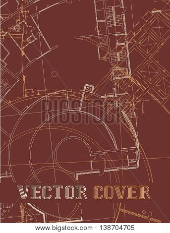 Drawing of abstract architectural detail on flat red surface. Image of colorful blueprint for use as background for web and print. Template for cover or banner with draft plan of a building.