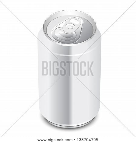Aluminum can on white background. Vector illustration.