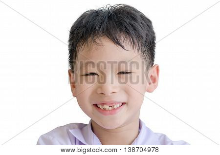 Happy Asian boy toothless smile close-up,new teeth rising over white background