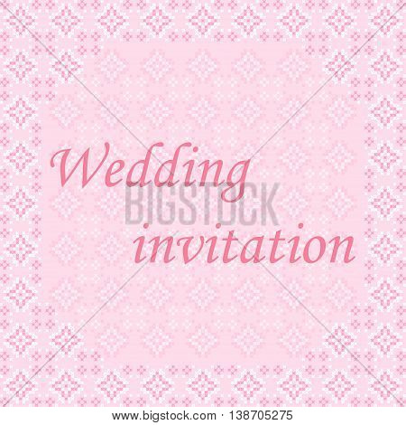 Frame wedding invitation pink and white patterns on canvas abstract embroidery