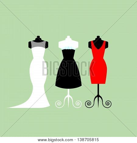 Collection of white wedding dresses in different styles - stock vector illustration.