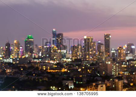 Abstract blurred lights big city downtown background