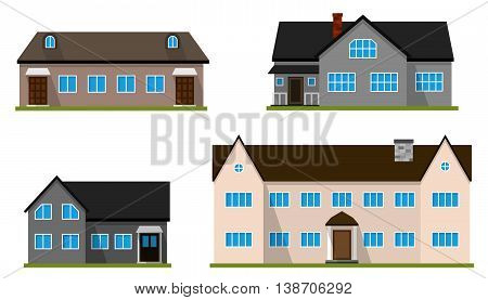 Set of flat house. Home icon. Town cottage. Real estate building. Vector illustration.