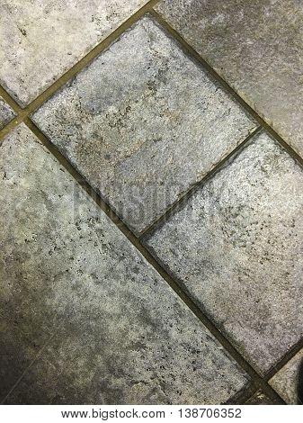 bathroom tiles on the floor of a public toilet.