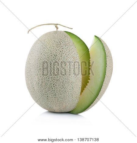 Green Melon Fruit Isolated On White Background