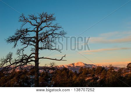 Sunrise on Pikes Peak as seen from Palmer Park in Colorado Springs, CO