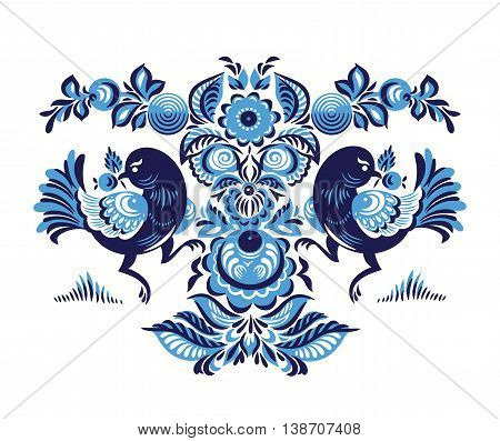 Folk Gorodets print in Russian Style. A floral pattern with two birds. Traditional vector art in blue colors