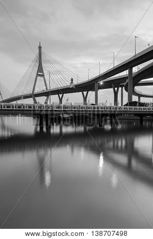 Black and White, Bangkok Suspension bridge connect to highway riverfront