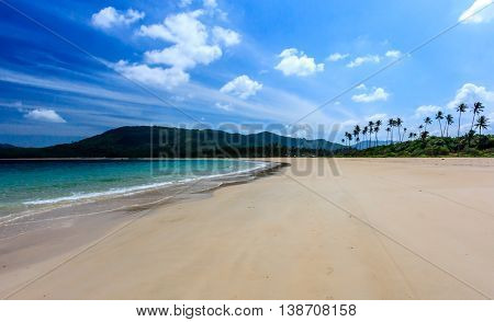 A deserted tropical white sand beach in the Philippines