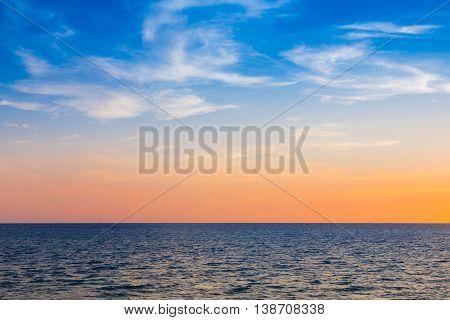 Natural seacoast skyline after sunset, natural landscape background