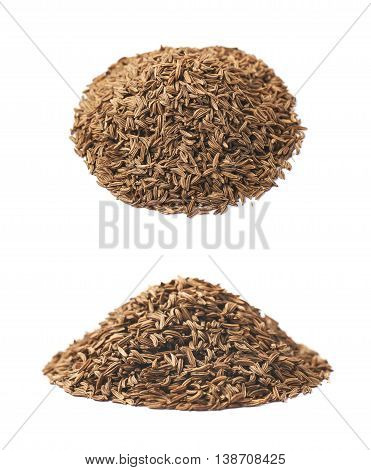 Pile of cumin seeds isolated over the white background, set of two different foreshortenings