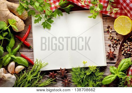 herbs and spice on wooden table,Copy space for your text.