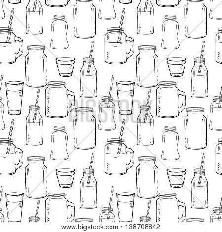 Glass bottles sketches seamless pattern for smoothie and milk, Yogurt and fresh juse, for detox cocktails pattern. Whith straw. Vector sketch illustration