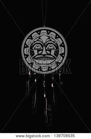 Dream Catcher with indigenous sun pattern and ornament